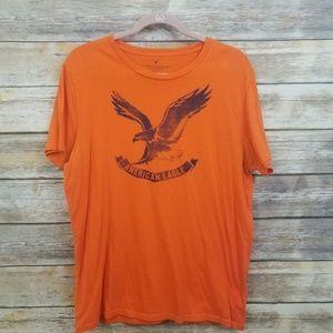 American Eagle Outfi Orange Blue Graphic Tee LARGE